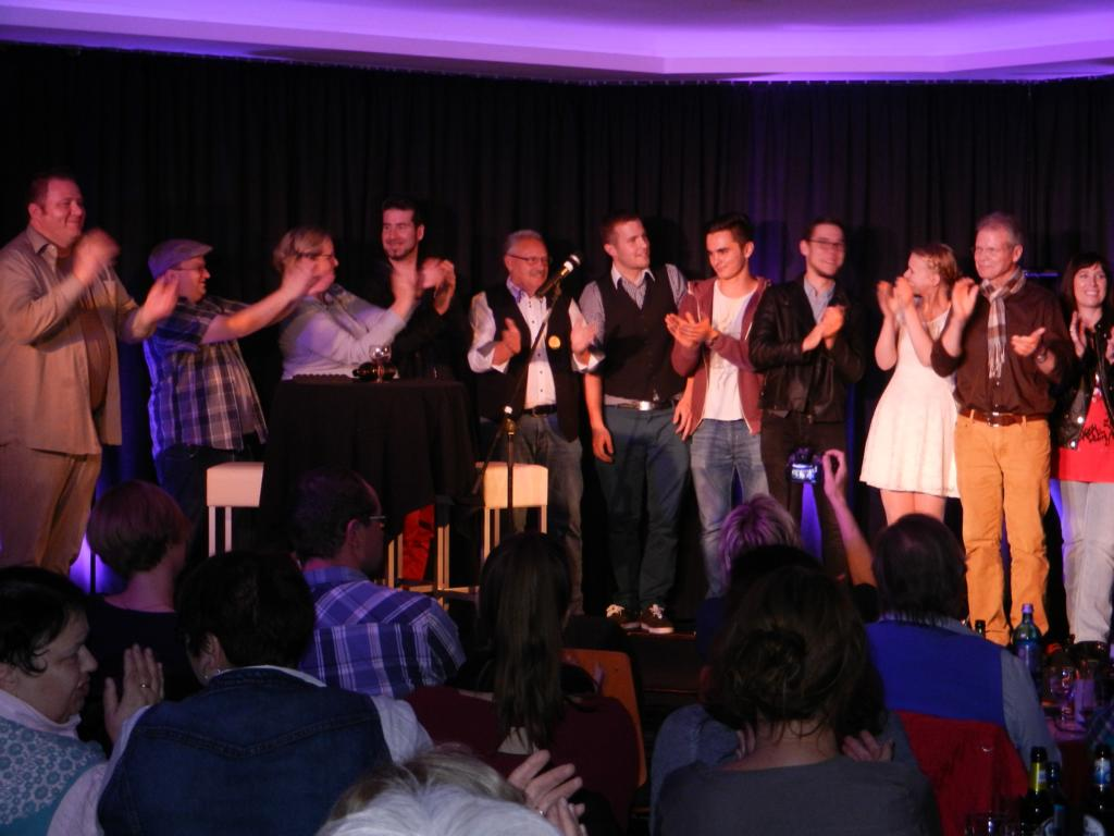 KGB - 11.10.2014 - v.l: Martin Horne, Kai Olaf, Hildegart Scholten, Torsten Schlosser, Dieter Keller, InsertCoin, Lena Poppe, Norbert Bandur, Acoustic Sensuality