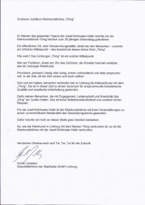 Grußwort  des Geschäftsführers der Stadthallen GmbH Limburg  Guido Lindeken